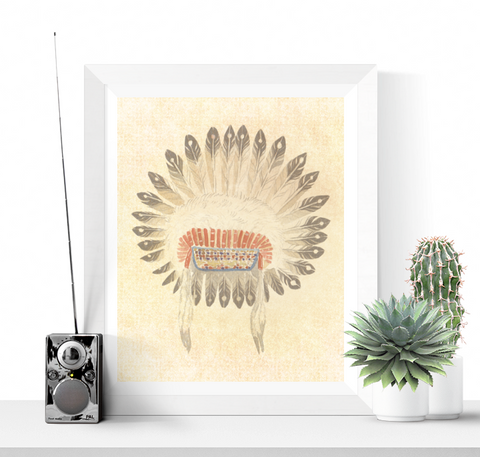 Native American Headress Wall Art Printable