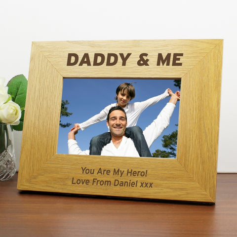 "Personalised Daddy and Me Wooden Photo Frame 6"" x 4"""