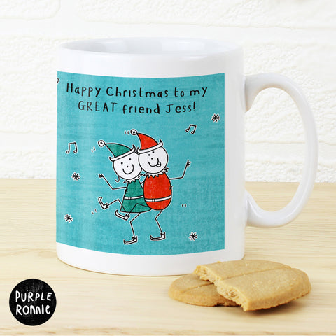 Personalised Purple Ronnie Christmas Elves Mug