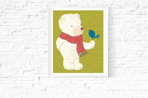 Cute Bear with Bird Printable Art Green
