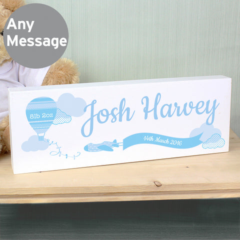 Personalised Up & Away Blue Balloon Mantel Block