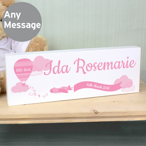 Personalised Up & Away Pink Balloon Mantel Block
