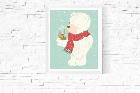 Cute Bear Blue Art Printable