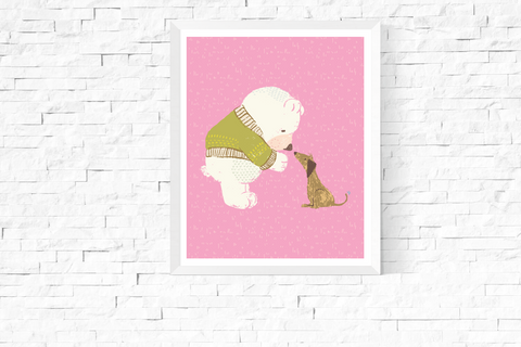 Cute Bear with Dog Printable Art Pink