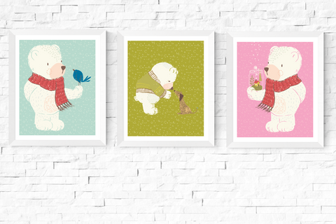 3 Cute Bears Nursery Art Printables