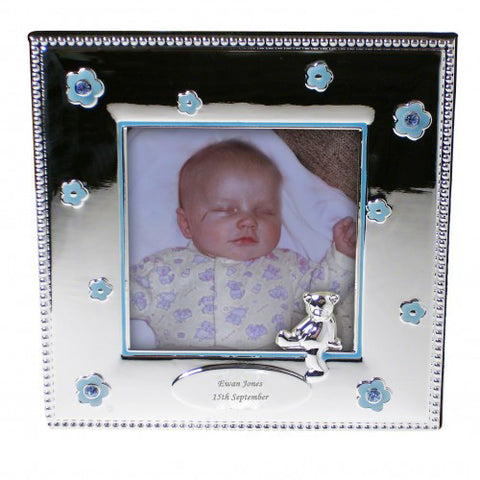 Personalised Blue Flowers Photo Frame Gift