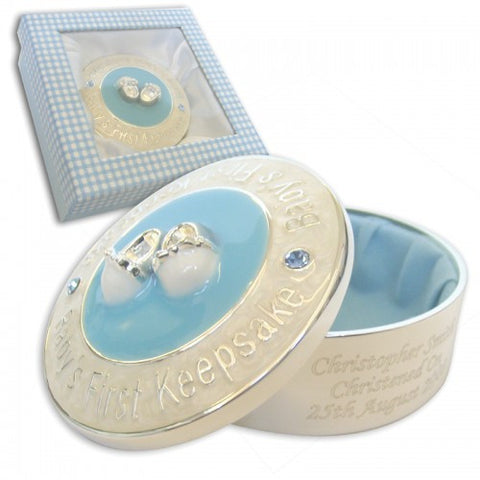 Personalised Blue 1st Keepsake Box