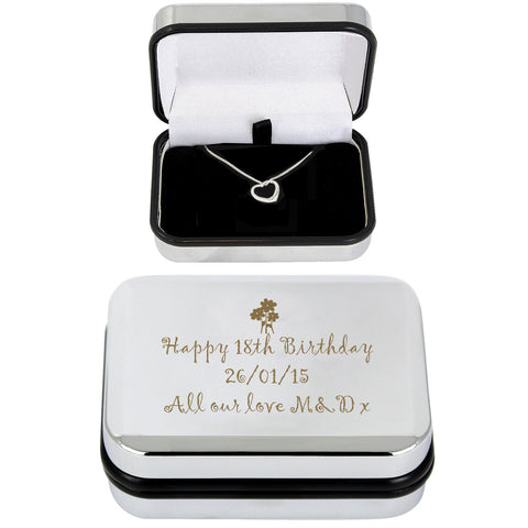 Personalised Heart Necklace and Box Gift