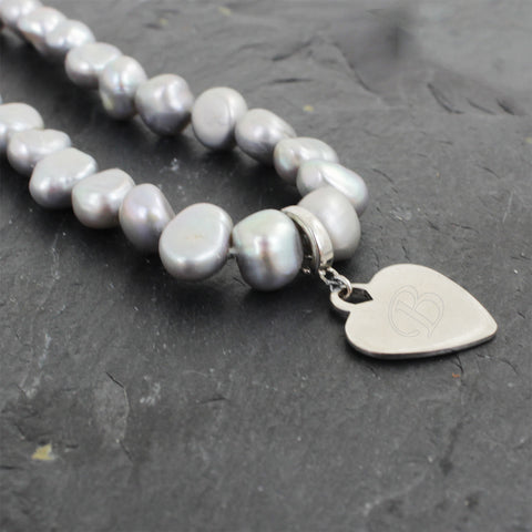 Grey Freshwater Initial Pearl Necklace Gift