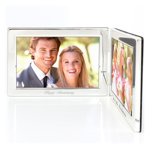 Personalised Double Silver Photo Frame Gift
