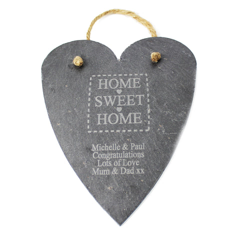 Personalised Home Sweet Home Large Slate Heart Gift