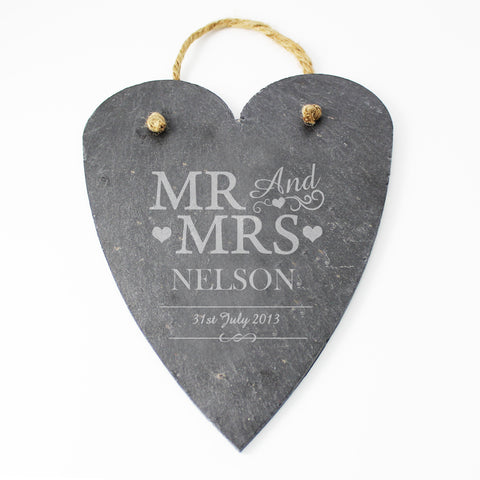 Personalised Mr and Mrs Slate Heart Gift