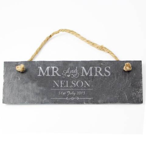 Personalised Mr and Mrs Slate Door Plaque Gift