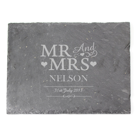 Personalised Mr and Mrs Slate Board Present