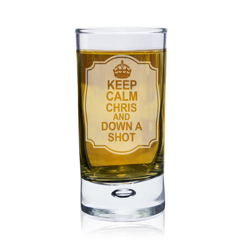 Personalised Keep Calm Bubble Shot Glass Gift