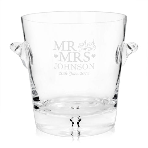 Personalised Glass Mr and Mrs Ice Bucket Gift