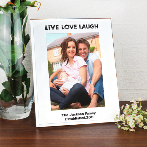 Personalised Mirrored Live Love Laugh Glass Photo Frame