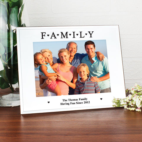 Personalised Mirrored Family Glass Photo Frame