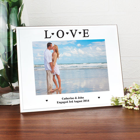Personalised Mirrored Love Glass Photo Frame
