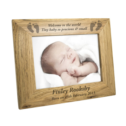 Personalised Baby Feet Wooden Photo Frame Gift