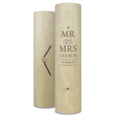 Personalised Mr and Mrs Wine Cylinder Gift