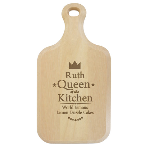 Personalised Queen of The Kitchen Large Paddle Chopping Board Gift