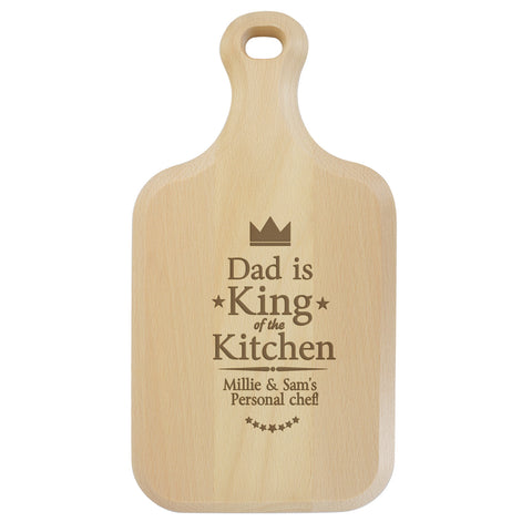 Personalised King of The Kitchen Large Paddle Chopping Board Gift