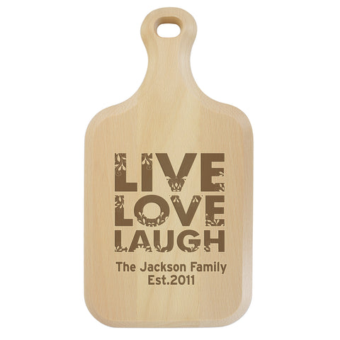 Personalised Live Love Laugh Large Paddle Chopping Board Gift