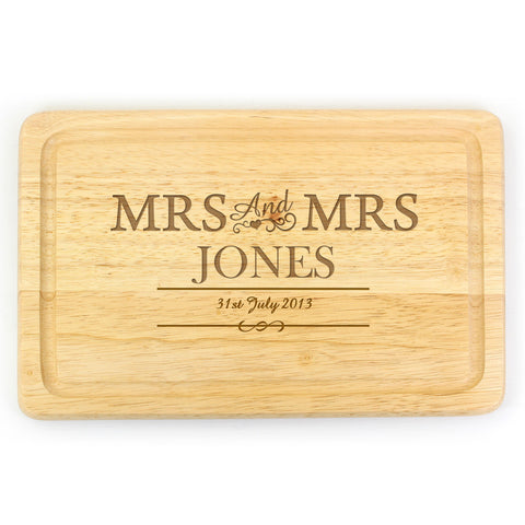Personalised Mrs and Mrs Large Chopping Board Gift
