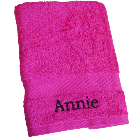 Personalised Bright Pink Bath Towel Gift