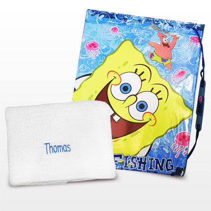 Personalised SpongeBob Swim Bag and Personalised Towel Present