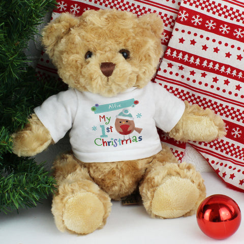 Personalised Felt Stitch Robin 'My 1st Christmas' Teddy Gift