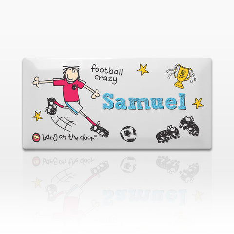 Personalised Bang on the Door Football Crazy Door Tile Gift