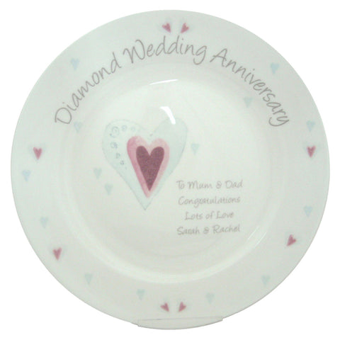 Personalised Diamond Anniversary Plate Gift