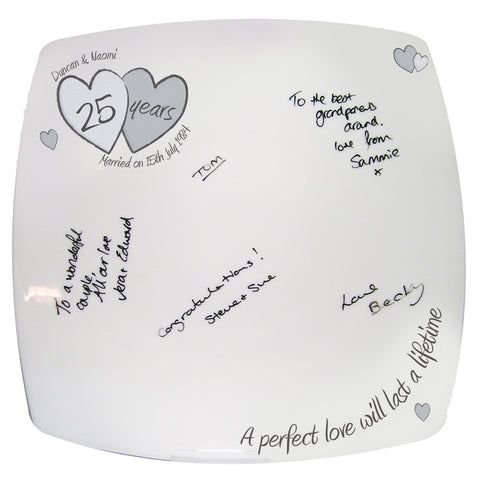 Personalised A Perfect Love Silver Anniversay Message Plate