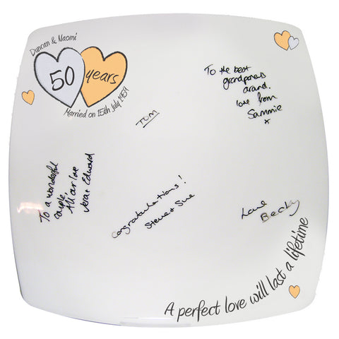Personalised A Perfect Love Golden Anniversary Message Plate