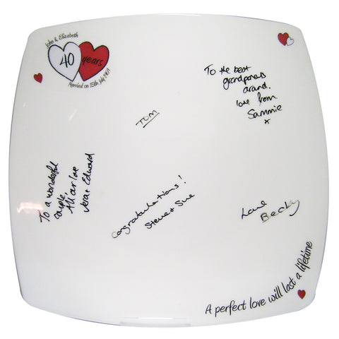Personalised A Perfect Love Ruby Anniversary Message Plate