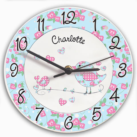 Personalised Floral Birds Clock Gift