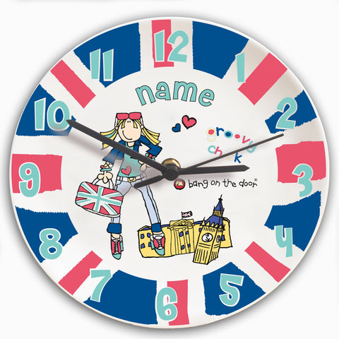 Personalised Bang on the Door London Chick Clock Gift