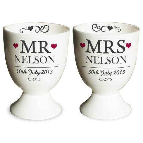 Personalised Mr and Mrs Pair of Egg Cups Gift
