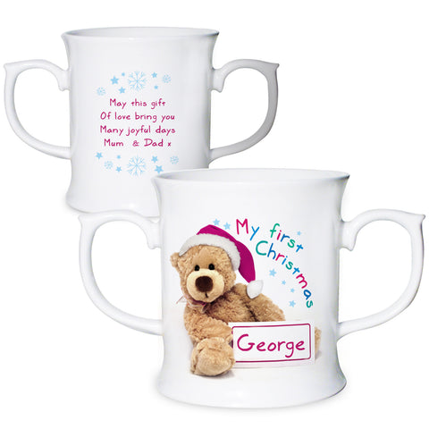 Personalised Teddy 1st Christmas Loving Mug Gift