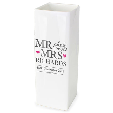 Personalised Mr and Mrs White Square Vase Gift