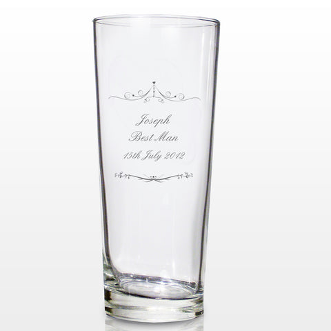 Personalised Ornate Swirl Pilsner Glass Gift