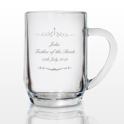 Personalised Ornate Swirl Tankard Glass Gift