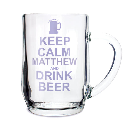 Personalised Keep Calm Drink Beer Glass Gift