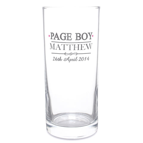 Personalised Mr and Mrs Page Boy Hi Ball Glass Gift