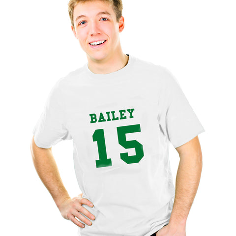 Personalised  Green Name and Number T-shirt 14-15 Years Gift