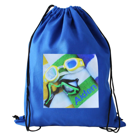 Personalised Swimming Goggles Blue Swim Bag Gift