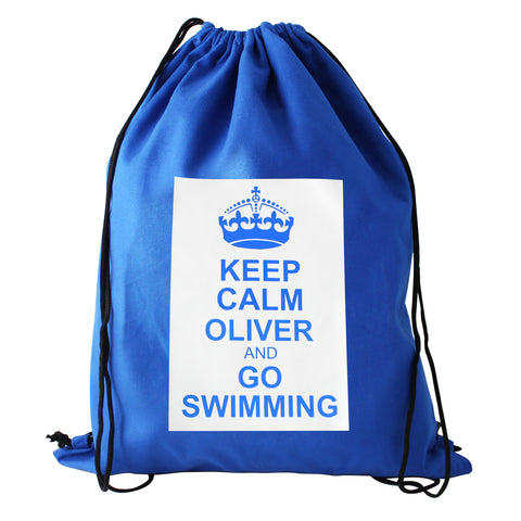 Personalised Blue Keep Calm Swim Bag Gift