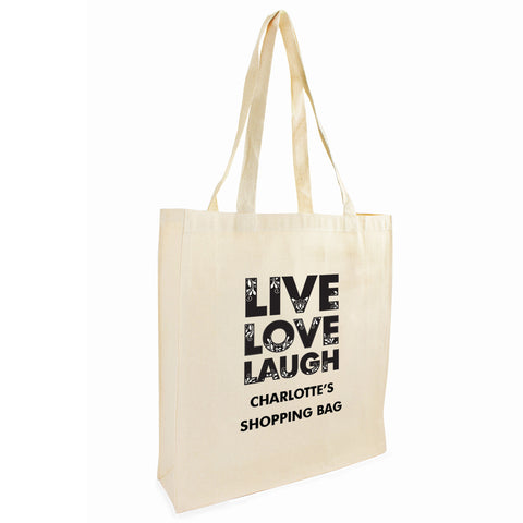 Personalised Live Laugh Love Cotton Tote Bag Gift